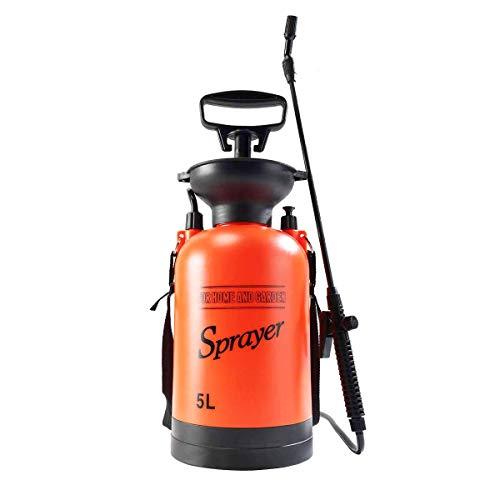 Homeself 5L Garten Drucksprüher, 1.3 Gallonen Drucksprüher Drucksprühgerät Sprühflasche Gießkanne mit Schultergurt for für Rasen und Garten Insekten und Unkraut Killer, waschen Sie das Auto (5L)