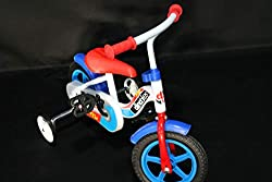 Kinderfahrrad Jungen Dino Bikes 10 Zoll mit Bremse am Lenker Weiß Rot Blau
