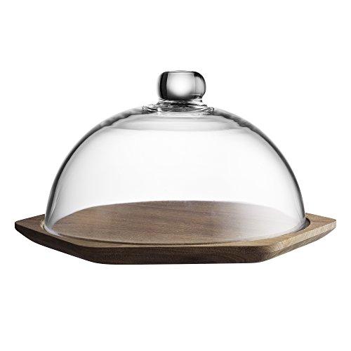 Typhoon modern kitchen formaggi in legno con coperchio in vetro a cupola, acacia, 24x 24x 19cm