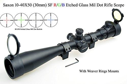 Saxon Rifle Scope 10-40x50 SF (30mm) Rouge/Vert/Bleu verre dépoli Mil Dot Sniper Riflescope wi thWeaver Mounts