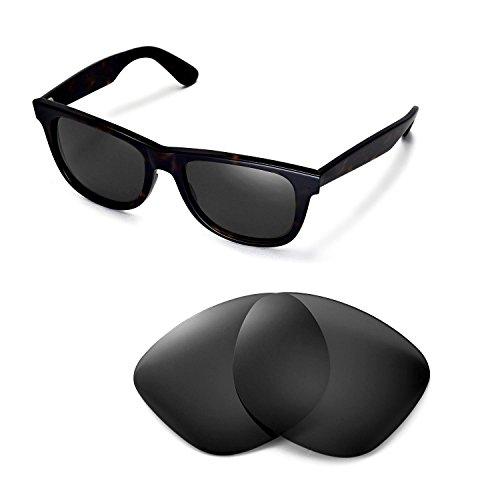 Walleva Ersatzgläser für Ray-Ban Wayfarer RB2140 54mm Sonnenbrille - Mehrfache Optionen (Schwarz - polarisiert)