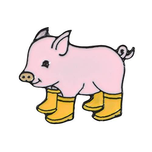 JTXZD Brosche Spaß Schwein mit Regen Stiefel Emaille Pins Piggy Broschen Abzeichen Jeans Revers Pin Cartoon niedlichen Tier für Kinder Freunde