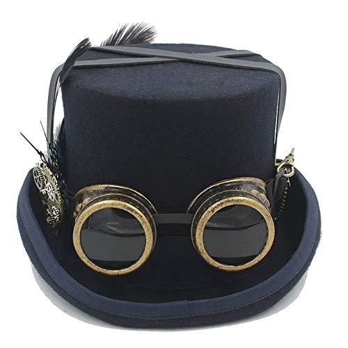 Xiao-masken Halloween handgemachte Cosplay Hut Vintage Frauen Männer Steampunk Rose Top Hats mit Brille Retro Kostüme Zubehör Cosplay Nussknacker Festival Hut Hochzeit ()