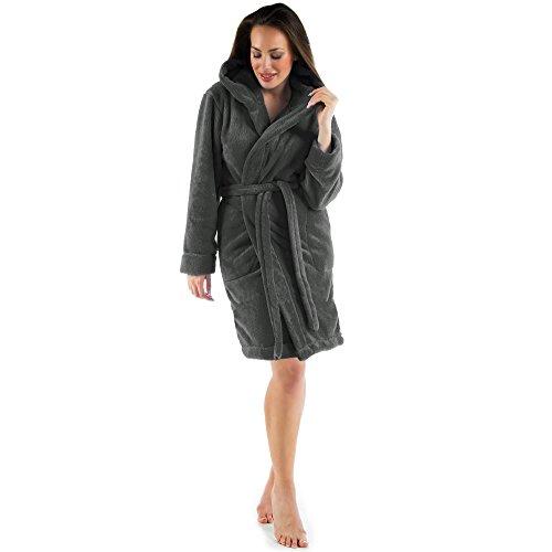 CelinaTex Damen Bademantel mit Kapuze, Flauschiger Sherpa-Fleece, kurzer Saunamantel für Wellness Spa, 5001260, Trend Morgenmantel Serie Korfu M anthrazit