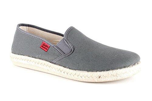 Andres Machado - Unisex Slip-On Schuhe aus grauem Leinen. Gummisohle mit Jute-Rand. Gr. 50