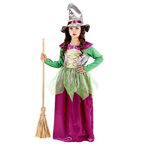 WIDMANN wdm12966?Disfraz para niños Bruja verde/morado (128cm/5?7años), talla XXS