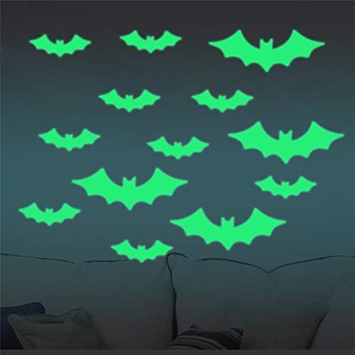 longzjhd 13 pcs Halloween Wandaufkleber Leuchtend Fledermaus glücklicher Halloween-Abziehbild,abnehmbarer leuchtender Wand-Aufkleber Zimmerwand Aufkleber Wandbild Dekor (Grün)