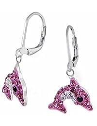 SL-Silver Ohrringe Kinderohrringe Kristall Delfin pink-weiss Klappverschluss 925 Silber in Geschenkverpackung