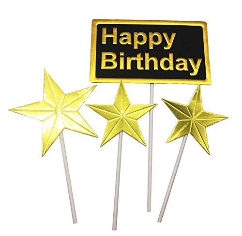 Gold Star Happy Birthday Cake Topper, Geburtstag Twinkle DIY Glitter First Birthday Cupcake Topper Cake Smash Candle Alternative Party Handarbeit Schwarz