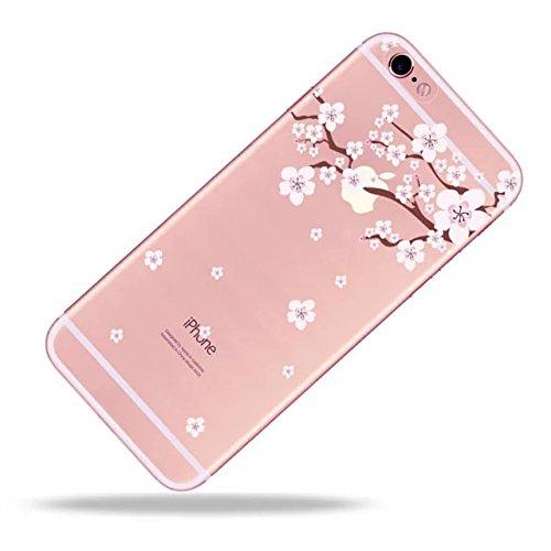 Pour iPhone 7 Coque, iPhone 7 Case Silicone, SevenPanda transparente TPU souple ajustement Parfait fin Bumper en caoutchouc souple chocs Scratch Résistent à clair mignon Creative coloré avec motif pei Fleur de Pêche 06