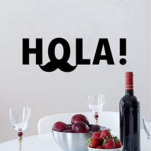 Spanische Hola lustige Schnurrbart-Vinylkunst-Zitat-Wand-Aufkleber, die verschiedene Farben verfügbar sind