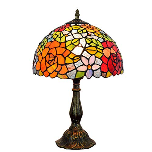 Rose Garden Bar Table (ZIXUAA Tiffany Bedroom Bedside Table Lamp Creative Garden Rose Bar Hotel American Stained Glass Lighting,alloydimming,20CM)
