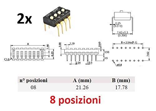 2 interruptores Dip de 8 posiciones
