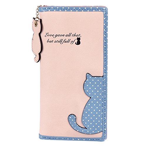 Damara Kunstleder Katze Handlich Tupfen Jugendlich Hochwertig Damen Portemonnaie Geldbörse, Pink (Grad 1 Riegel)