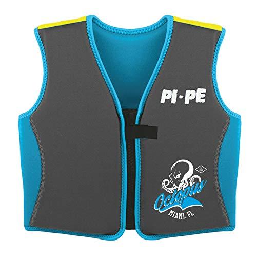 PI-PE Schwimmweste Kinder - Swimmen Lernen mit Einem sicheren Gefühl - Schwimmhilfe für Auftrieb angenehmes Neopren - schnell trocknend Blue/Grey Octopus 4-5 Jahre