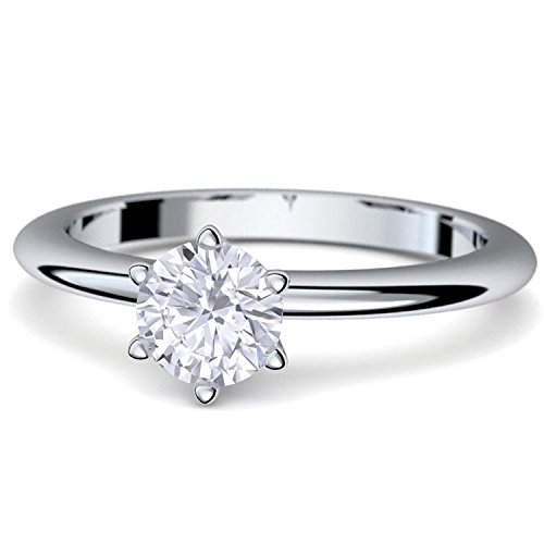 Verlobungsringe Weißgold Ring 585 von AMOONIC ***mit Zirkonia***+ inkl. Luxusetui + Solitär Ringe Zirkonia wie Diamantring Diamant- 585 Verlobungsringe Weißgold - Precious AM195WG585ZIFA50