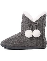 c1f66a331 Pantuflas para Mujer Zapatillas de Estar por casa de Mujer con Bordes del  Tejido de Punto