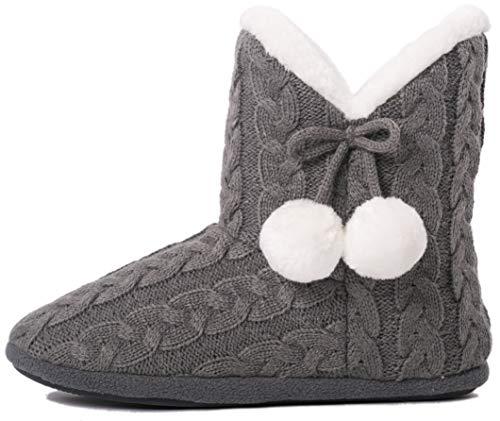 Airee Fairee Hausschuhe Damen Pantoffeln Stiefel Schuhe mit Weichen- Gr. 38/39 EU (M), Grau