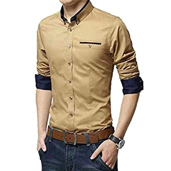 IndoPrimo Men's Cotton Casual Shirt for Men Full Sleeves (Cream, Small)