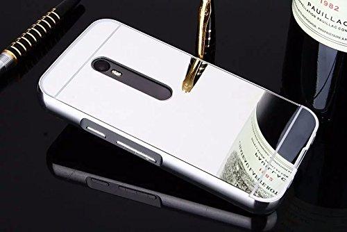 SDO™ Acrylic Mirror Back Cover Case with Bumper Frame Case for Moto G Turbo Edition (Silver)