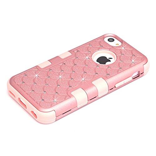 iPhone 5C Coque,Lantier 3 en 1 Combo clouté strass cristal Bling élégant double couche hybride anti rayures antichoc Housse de protection robuste pour Apple iPhone 5C Or Rose+Rose Cute Rhinestone Rose Gold+Pink