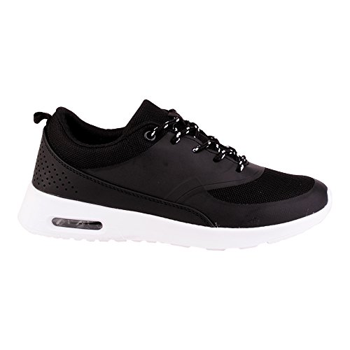 Herren Damen Sneaker Sportschuhe Lauf Freizeit Fitness Low Unisex Schuhe Schwarz/Damen