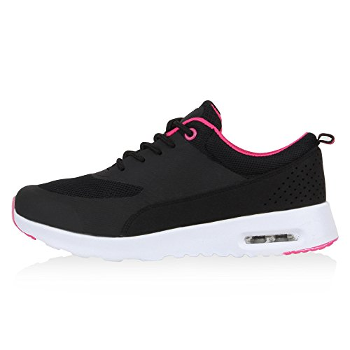 Damen Herren Sportschuhe Runners Laufschuhe Sneakers Neon Schwarz Pink