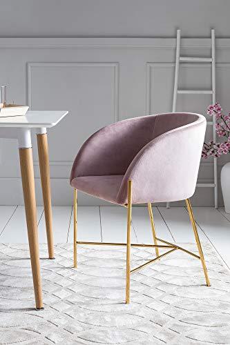 Messing Metall Stuhl (SalesFever Polsterstuhl Sjard in Rose   Esszimmer-Stuhl in Samt-Optik mit Armlehnen   Gestell Messing-Farben   Sitz- und Rückenpolsterung)