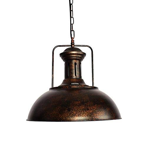 Pendelleuchte Vintage Deckenleuchte Rustikale Dome Bowl Lampenschirm Einstellbare Kette für Wohnzimmer Bar Coffee Shop, Rust -
