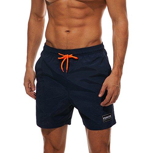 Belloo Herren Quick Dry Badeshorts Beach Kurze Badehosen für Sport Fitness,Dunkelblau,XXXL