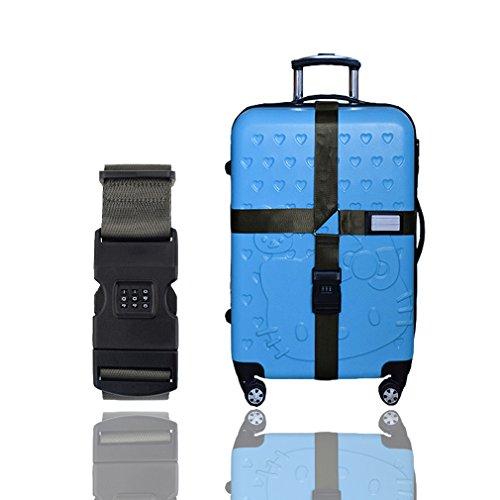 Premium Koffergurt mit Schnalle und Namensschild - hochwertiger Gepäckgurt, lange Koffergurte (1-Pack mit Schloß) (Kreuz Schnalle)