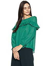 Symbol Amazon Brand Women's Blouse Top with Ruffle Details