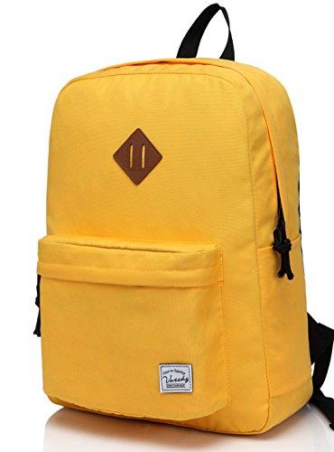 Imagen de vaschy  ligera, clásico impermeable básica daypack plegable para los deportes y los viajes, la bolsa de libros de la escuela primaria para los adolescentes oro