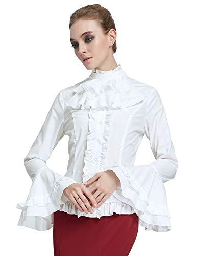 SCARLET DARKNESS Damen Vintage Renaissance Langarm Rüschen Cape Verziertes Bluse Oberteile M -