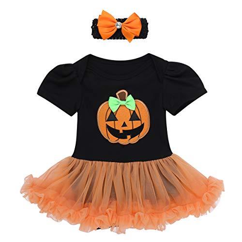 Kürbis 0 3 Monat Kostüm - Alvivi Baby Mädchen Body Tutu Strampler mit Stirnband Halloween Kürbis/Schädel Kostüm Kleid Spielanzug Cosplay Party Kleid Schwarz 50-56/0-3 Monate
