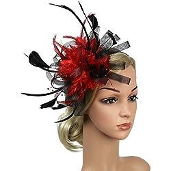 SYN Tocado diadema de malla de plumas para iglesia, cóctel, día del derby, banquete, regalo de fiesta, sombrero, accesorio para el pelo, para mujer, boda Negro + Rojo Talla única