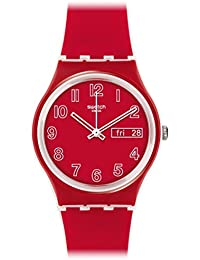 Swatch 'Poppy Field' Quartz Plastic and Silicone Casual Watch, Color:Red (Model: GW705)
