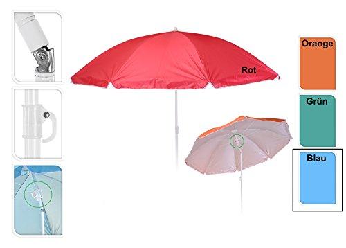 Meinposten Sonnenschirm Ø 138 cm Strandschirm Schirm mit 3 Haken Strand Urlaub UV Schutz (Blau)