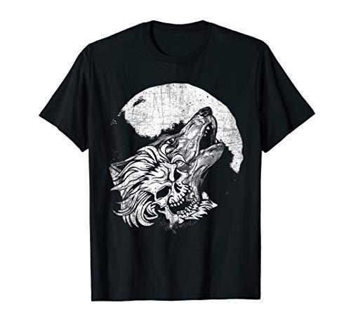 Kostüm Hunter Wolf Das - Horror-Schädel-Wolfs-Hauptvollmond-Voodoo T-Shirt