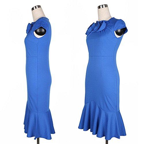 Smile YKK Robe Moulante Femme Coton Manche Courte Col Rond Queue de Poisson Crayon Mariage Bleu