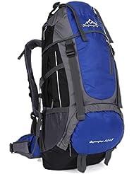 EGOGO 50L deporte al aire libre carga superior, fin de semana Pullstring mochila ciclismo mochila de senderismo Trekking Camping mochila para montañismo de esquí Excursions(50L+5L) (Azul)