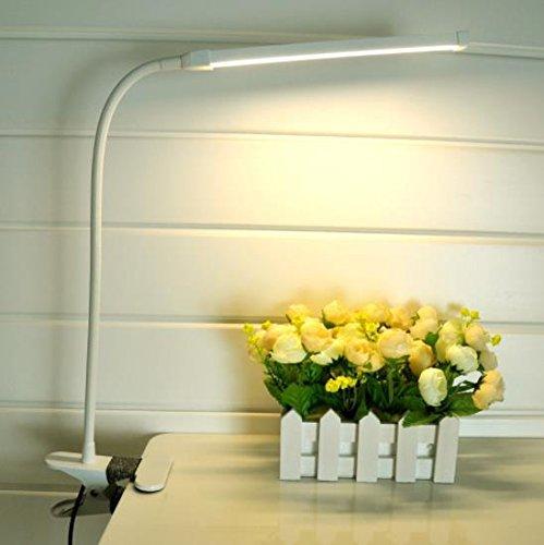 TAIDENG 6W 18LED Clip Licht Typ Schreibtisch Clamp Lampe Dimmen Leseauge USB Lampen Tischleuchten Dimmbare 2 Beleuchtung Farben, White -