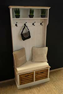 design porte manteau mural avec banc de maison de campagne blanc vieilli banc coffre de. Black Bedroom Furniture Sets. Home Design Ideas