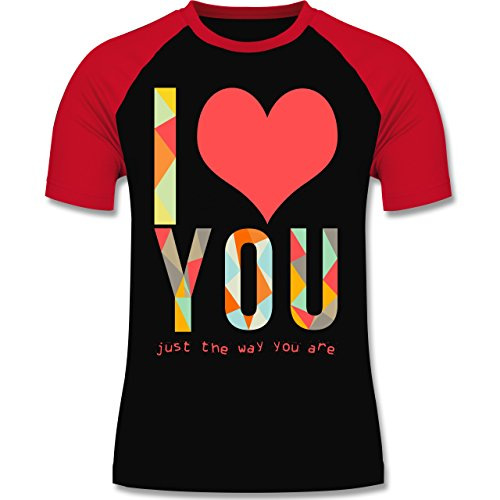 Romantisch - I love you just the way you are - zweifarbiges Baseballshirt für Männer Schwarz/Rot