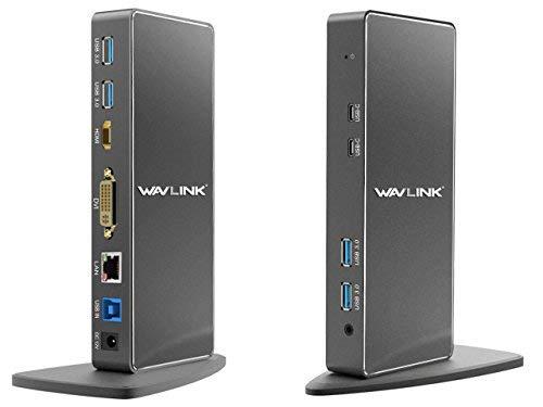 WAVLINK USB 3.0 Universal Docking Station mit zwei Videoausgängen (DVI, VGA oder HDMI) für Laptop/PC oder Mac (Gigabit Ethernet, Audio, 2 Typ C Ports und 4 USB 3.0 Ports)
