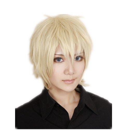 COSPLAZA Cosplay Kostüm Perücke kurz Blond Halloween Party Haar mit Perueckennetz