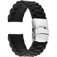 TRUMiRR 22mm de silicona de acero inoxidable reloj de goma de la banda de la hebilla de correa de pulsera para Samsung Gear S3 Classic/Frontier, Gear 2 R380 R381 R382,Moto 2 360 46mm, Guijarro Tiempo / Acero, Asus ZenWatch 1 2 Los hombres, LG G Reloj urbano W150