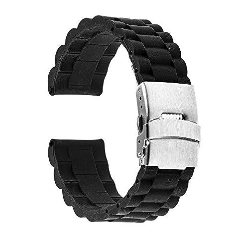 TRUMiRR 22mm Silicone Rubber Watch Band en acier inoxydable Boucle Bracelet Bracelet pour Samsung Gear 2 R380 Neo R381 R382 en direct, Moto 360 2 46mm, Pebble Time / Steel, Asus ZenWatch 1 2 Men, LG G Montre Urbane W150