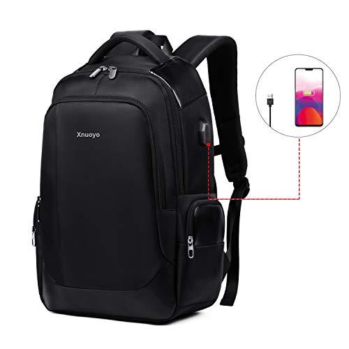 Xnuoyo 15,6 Zoll Laptop Rucksäcke Herren, Große Kapazität Wasserabweisend Business Laptop Backpack mit USB Ladeanschluss für Business Schule Reisen Frauen Männer (Schwarz) - Große Computer-rucksack