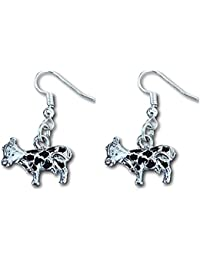 Dairy Cow Silver 3D Charm Figurine Earrings by Farralone Vegan Outreach